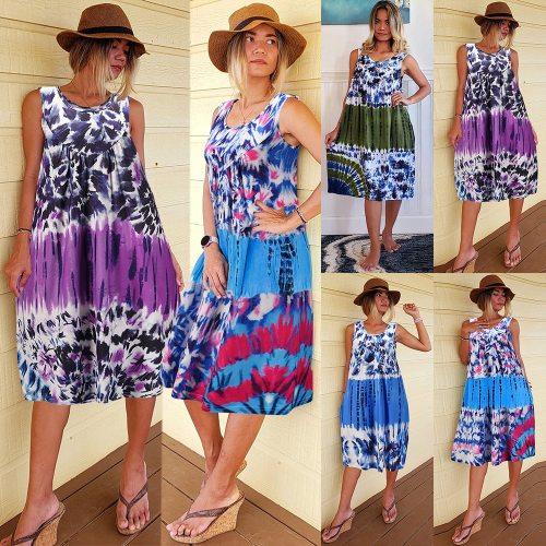 Loose 2XL Fashion Tie Dye Summer Dress Women 2021 O-Neck Sleeveless Sundress Chic Sweet Dresses Beach Robe Casual Vestidos Mujer