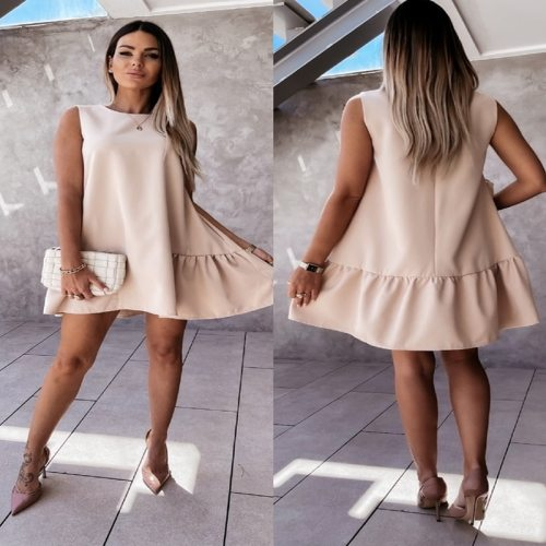 Summer Dress Women Robe Solid Color A-Line Dresses Patchwork Ruffles O-Neck Sleeveless Loose Mini Dress For Woman Vestidos Femme