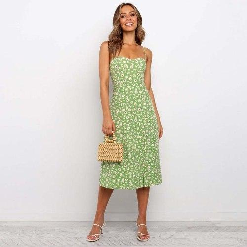 2021 Summer Boho Dress Summer Spaghetti Strap Dress Ladies High Waist Floral A Line Backless Maxi Dresses For Women 2XL