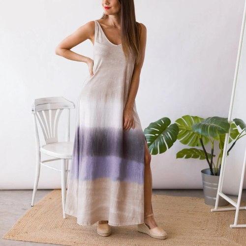 2021 Summer Sexy Split Long Dress Women Gradient Print Sleeveless Strap Backless Robe Maxi Holiday Casual Loose Beach Sundress