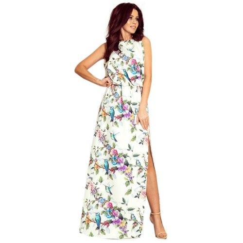 Women Boho Beach Summer Floral Maxi Dress Elegant Sleeveless Holiday Vacation Summer Flower Long Dress
