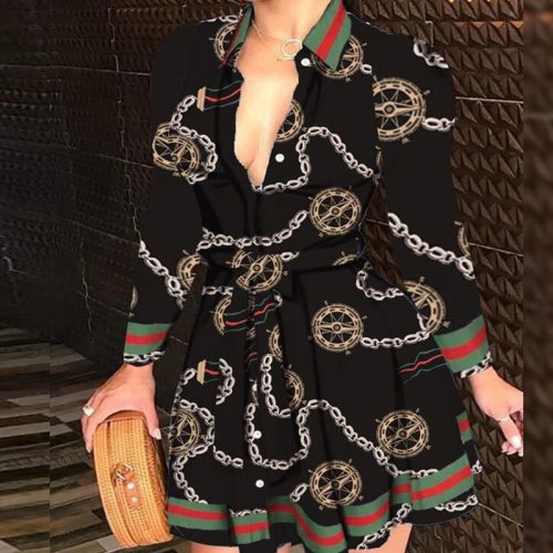 2021 Sexy Women Deep V-neck Mini Dress Spring Autumn Long Sleeve  Chain Print High Waist Party Dresses