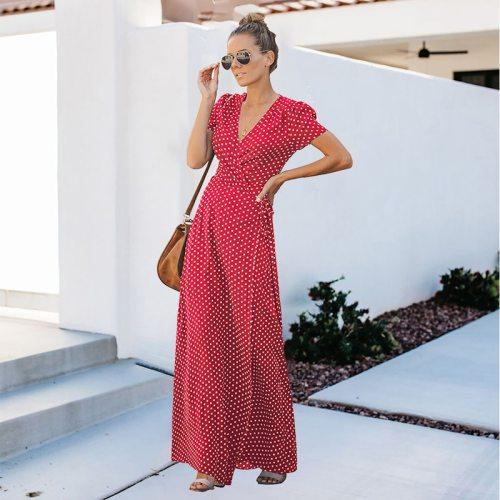 NewAsia Garden Polka Dot Dress Long Dress Plus Size Dress V Neck Print Belt Bow Short Sleeve Vestidos Summer Clothes For Women