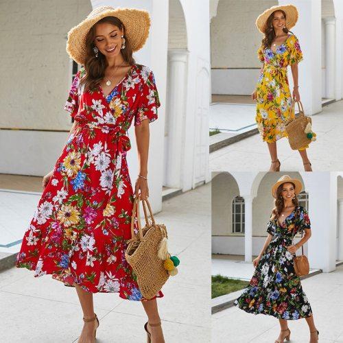 Boho Flower Print Summer Dress Ruffle V Neck Sashes Beach Long Ladies Dresses  Yellow Sundress Fashion Grace Women Clothes 2021