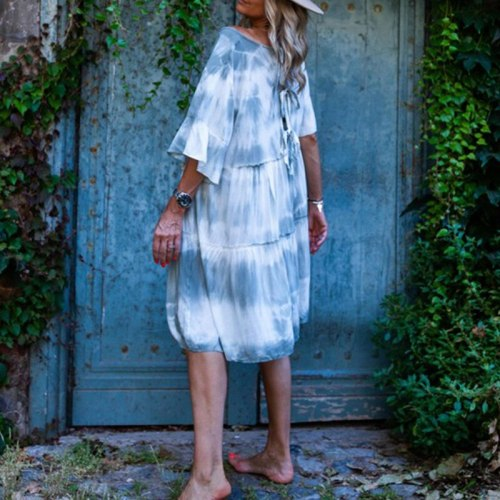 Colorful Loose Short Dress Tie Dye Twist Dress Women 2021 Summer Female Boho Style Floral Print Beach Tunic Sundress Plus Size