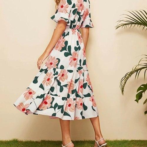 Women Summer Chiffon Floral Print Long Dress V Neck Beach Short Flare Sleeveless Spring  9102