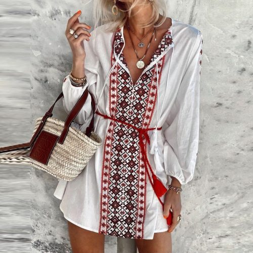 Elegant Cotton And Linen Ladies Dresses Fashion Flare Half Sleeve Print Party Dress Spring V Neck Casual Patchwork Loose Dress