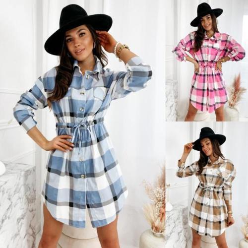 Autumn Spring Dress Women Casual Plaid Shirt Dress High Waist Lace Up Charming Slim Dress Long Sleeve Mini Dress Vestidos 2021