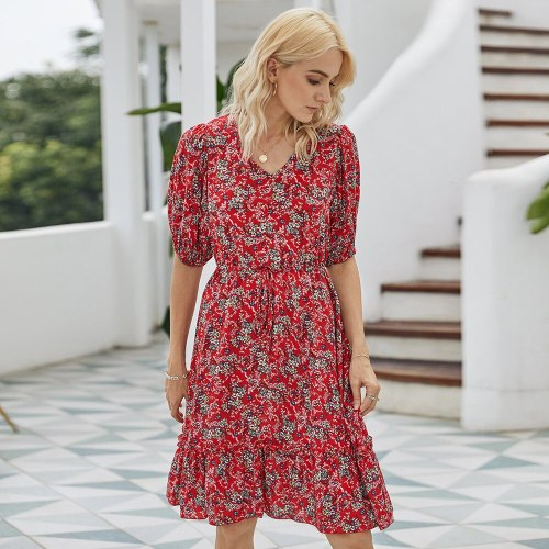 2021 Summer Women's New Fashion Print Dress, V-neck Women's Casual Dress
