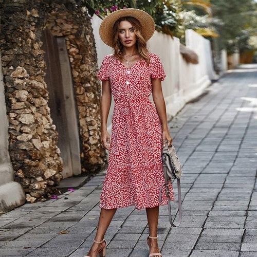 Plus Size 2021 Summer Women Holiday Dress Button Bohemian Print Dresses Dots Short Floral Dress