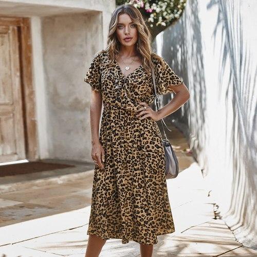 Women Dress 2021 Leopard Print Sexy Summer Long Dress Clothes For Women High Waist Ruffled Office Ladies Casual Dress