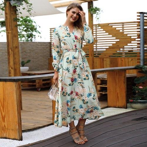 2021 Summer Women Chiffon Dress New Fashion Female Long Sleeve Printed Casual Dresses Ladies Elegant Beach Dress Vestidos