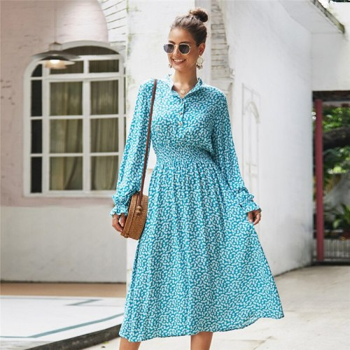 Spring Summer Elegant Butterfly Sleeve Women's Floral Print A-line Dress 2021 New Full Sleeve Turn-down Collar Long Ladies Dress
