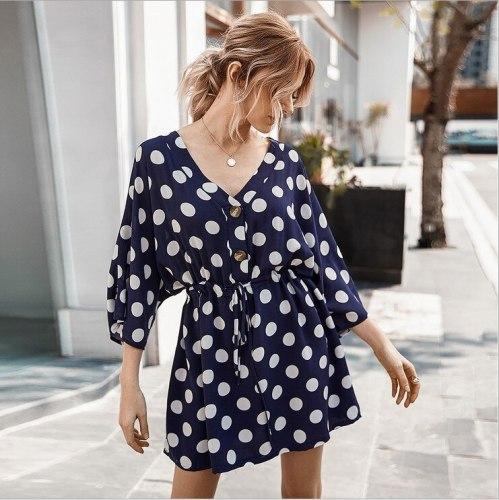 2021 New French Retro Wave Point Deep V Neck Casual Beach Dresses Flare Sleeve Womens Linen Mini Warp Dress
