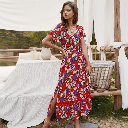 2021 new hot sale sexy Holiday Women's wear summer long beach V-neck short sleeve dress women's dress
