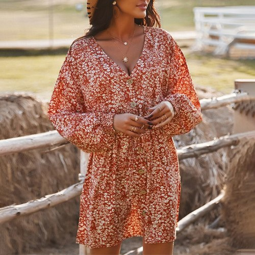 Women V-Neck Lace Up Floral Print Loose Dress 2021 Spring Summer Casual Long Sleeve Button Puff Sleeve Holiday A-Line Mini Dress