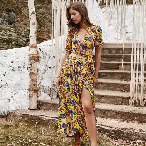 Summer New Fashion Women Casual Dress Lady Bohemian Style V-neck Short Sleeves Sexy Floral printed Split Women's suits