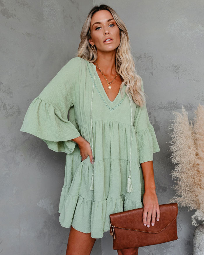Women Ruffle Long Sleeve Dress Female Fringed Patchwork Solid Color Flared Sleeve Casual Dress Spring Party Club Beach Vestidos