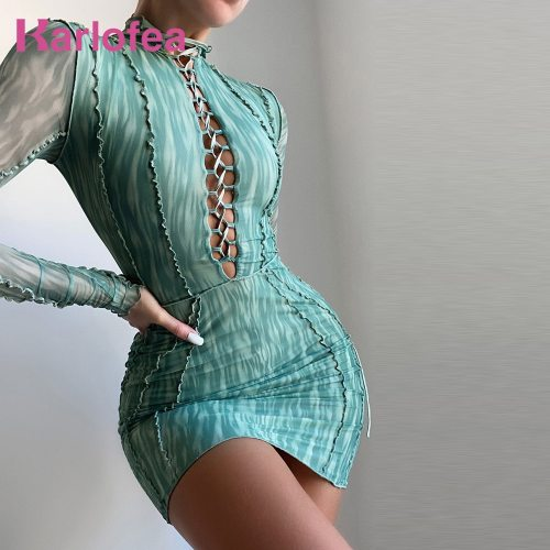 Dresses Woman Summer 2021 Long Sleeve Bandage Bodycon Clothing Sexy Streetwear Outfit Green Print Mesh Party Mini Dress