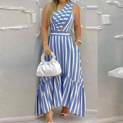 Fashion Sleeveless Stripe Maxi Dress Woman Summer Boho Elegant Casual Long Dresses For Women