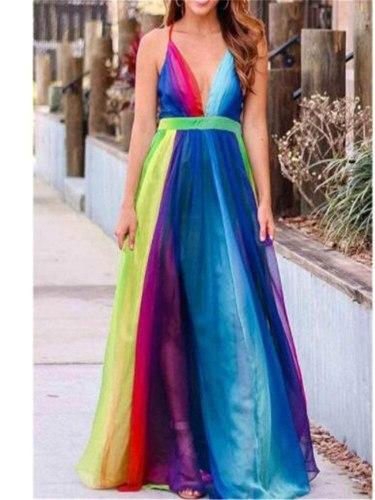 Rainbow sexy mini skirt Deep V mesh beach skirt Women's suspender dress