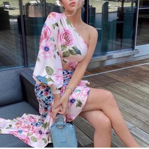 Elegant Dress Asymmetric Waist Streetwear Fashion Secy Lantern Sleeve Dress Women Hit Color High Waist Vestidos