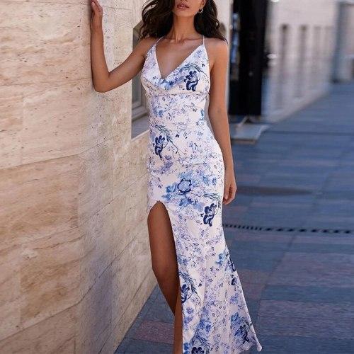 Slip Dress Summer Sexy Woman Backless Cross Lace Up Fashion Print Party Dress Irregular Split Spaghetti Long Dress For Women