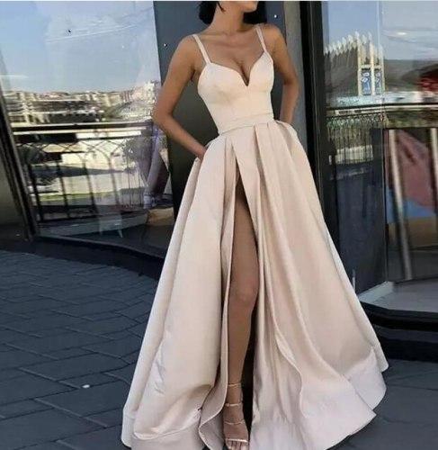 Plus size with High Slit prom Satin red Blue Spaghetti Straps Sweetheart sexy vestidos de fiesta de noche abiye