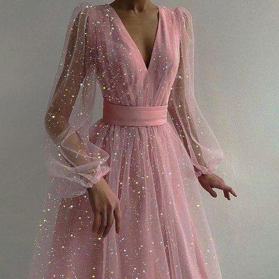 Women Summer Mesh Tulle Sexy Lady Party Dress 2021 Spring Lantern Long Sleeve Sequins Dots Dresses Elegant Female Vestidos Robe