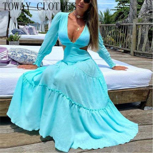 Women Long Sleeve Cutout Puff Sleeve Plunge Dress Maxi Elegant Chic Dresses