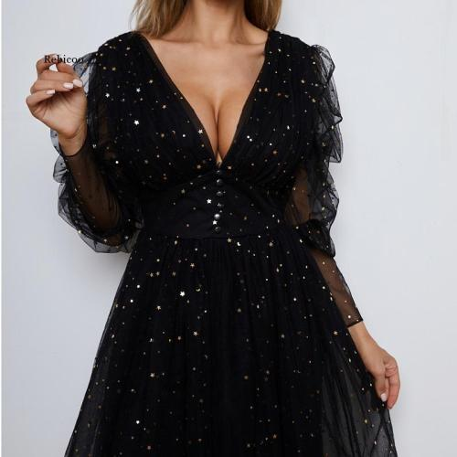 Party Dresses V-Neck Half Sleeves A-Line Tulle Black Starry Night Party Summer Robes de cocktail