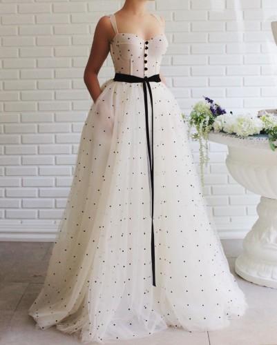 Women Sexy Dress Dot Print Spaghetti Strap Party Dresses High Waist Sleeveless Bow Ribbon Big Swing Mesh Maxi Dress