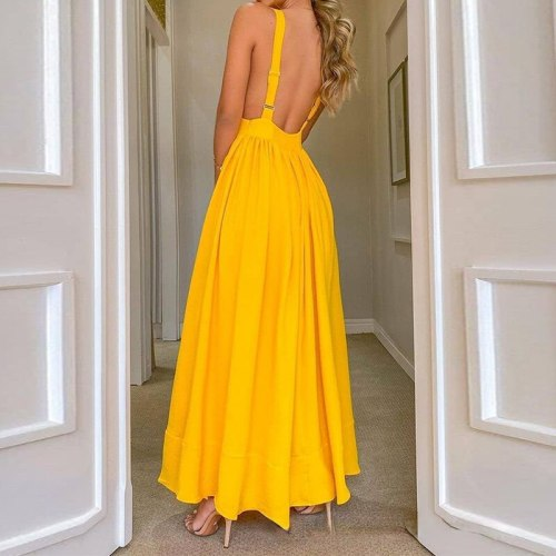 Summer Women Solid Yellow Elegant Sexy Backless Strap Lace Up Dress Fashion V-Neck Bandage Bodycon Dress
