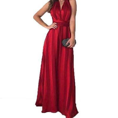 Party Bodycon Red Long Stripes Dress Women 2021 Sleeveless Sexy V-Neck Tight Slim Waist Bandage Harajuku A-Line Vestido SJ7569C