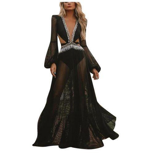 Women's Black Dress Fashion Spring Summer V-neck High Waist Sexy Open Back Lantern Long Sleeve Cut Out Lace Boho Long Dress #294