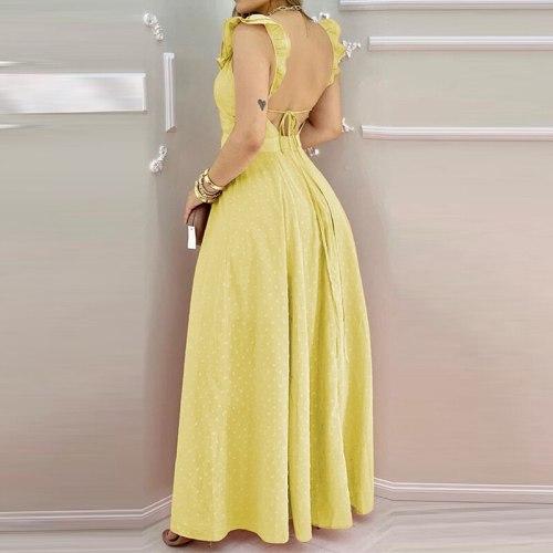 Women Solid Color Ruffles Dress V-neck Sleeveless Dots Maxi Dress Elegant Fashion Backless Split Sweet Dress Floor-Length Dress