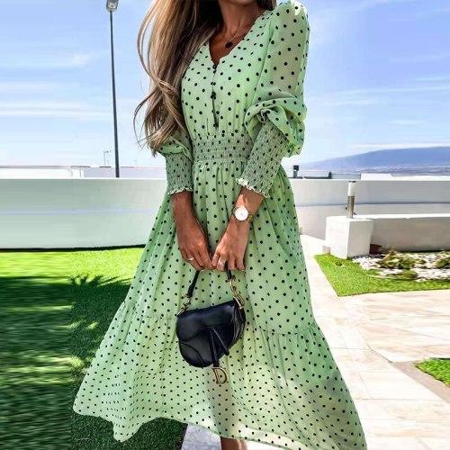 90s Vintage Dot Print Chiffon Dress Women Elegant Summer V-Neck Button Party Dresses Lady Fashion Loose Maxi Dress 2021 Vestidos