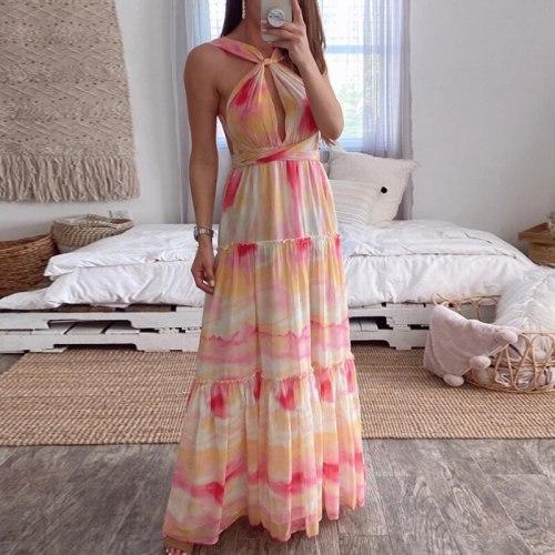 Ladies Print Long Bohemian Beach Summer Dress Women Sundress Sexy V-Neck Sleeveless Strap Maxi Vintage Bandage Dress Vestido