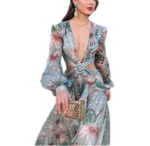 2021 Summer Autumn Floral Print Chiffon Dress Women Criss Cross Low Cut Deep V Neck Bohemian Beach Sexy Dresses Female