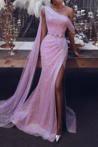 One Shoulder Sequin Split Long Dress 2019 Autumn Women Purple Sleeveless Bodycon Elegant Club Party Maxi Sequined Dress