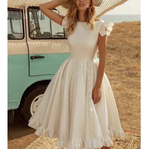 2021 Short Sleeve Lace Patchwork Pleated Ruffles Tutu Dress Sexy Wedding Party Dress New Fashion Women White Long Dress