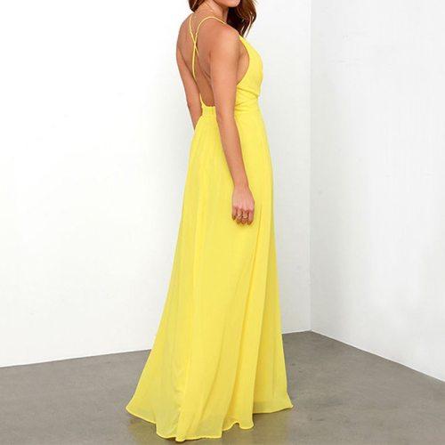 Women Solid Color Bohemian Beach Strap Long Dress Summer V-Neck Maxi Dresses for Women Dress Elegant Undefined Sexy Dress
