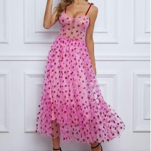 Women Strapless Mesh Dress Summer Fairy Dress Female Ruffles A-line Dresses