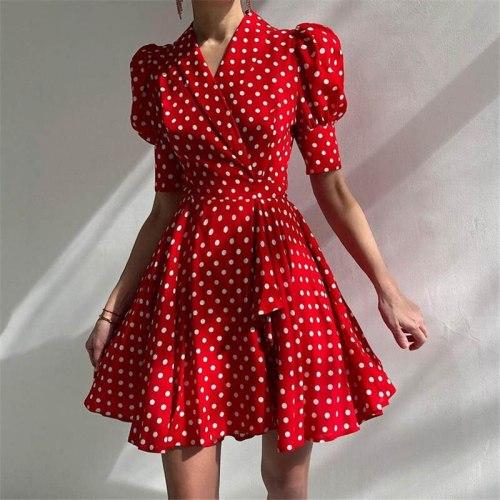 2021 Boho Polka Dot Dress Women Summer Beach Belt Mini Dresses Casual Short Sleeve Sweet Holiday Sundress Vestido Mujer