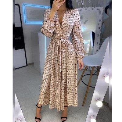 Printed Long Dress Women V-neck Cardigan Belt Boho Dress Long Sleeve High Waist Summer Maxi Dress Lugentolo