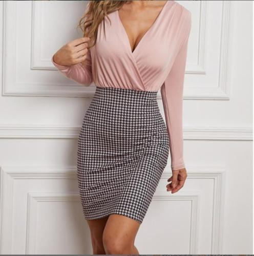 Summer Long Sleeve Office Dress Women V Neck Midi Dress High Waist Houndstooth Print Casual Dresses for Office Ladies
