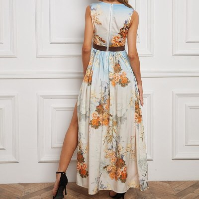 Summer sleeveless tank top high waist printed slit asymmetrical maxi dress,robe femme chic, going out dresses for women party