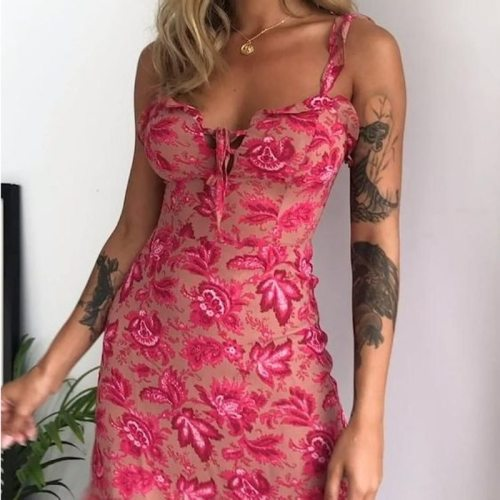 Maple Leaf Strappy Summer Dress Women Sexy Slip Sleeveless Ruffled Stretchy Skinny Dress Suspender vestido de mujer