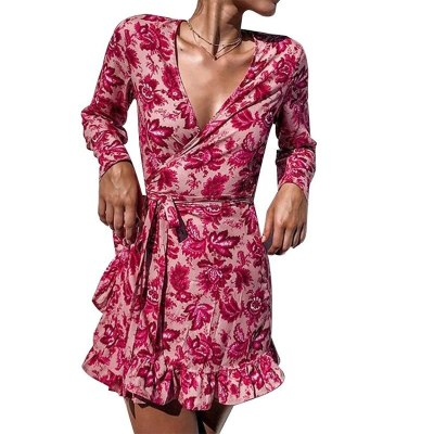 Long Women's Dresses New Long Sleeve Printed V-neck Midi Dress Loose Fashion Casual High Waist A-Line Knee-Length Beach Style