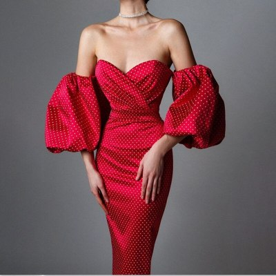 Puff Lantern Sleeve Elegant Dresses Sexy Women's Strapless Backless Polka Dot Slim Dress Female 2021 New Fashion Ladies Vestidos